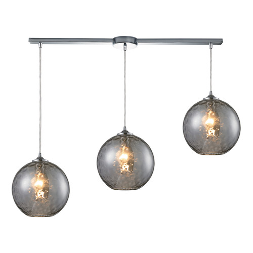 ELK Lighting 31380/3L-SMK Watersphere 3-Light Linear Pendant Fixture in Chrome with Hammered Smoke Glass