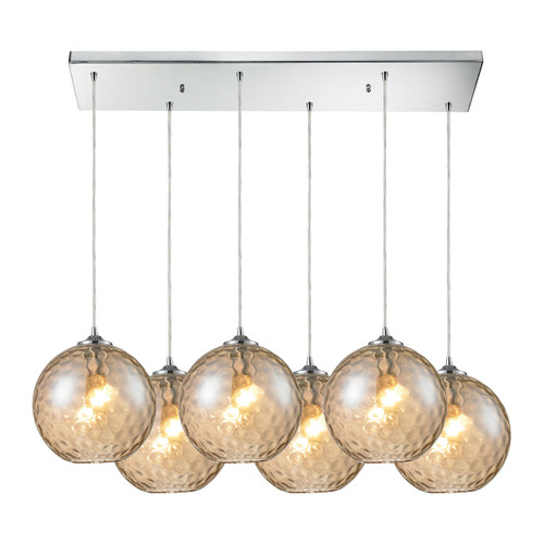 ELK Lighting 31380/6RC-CMP Watersphere 6-Light Rectangular Pendant Fixture in Chrome with Hammered Amber Glass