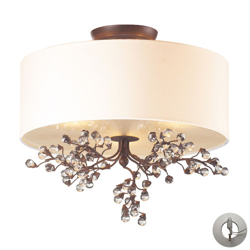 ELK Lighting 20089/3-LA Winterberry 3-Light Semi Flush in Antique Darkwood with Shade and Glass Balls - Includes Adapter Kit