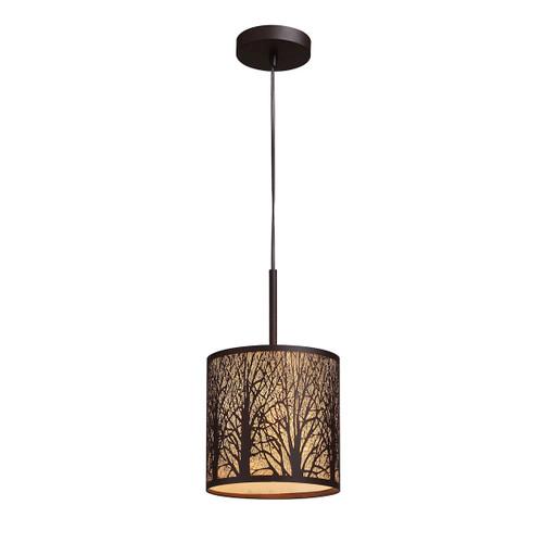 ELK Lighting 31073/1 Woodland Sunrise 1-Light Mini Pendant in Aged Bronze with Woodland Shade