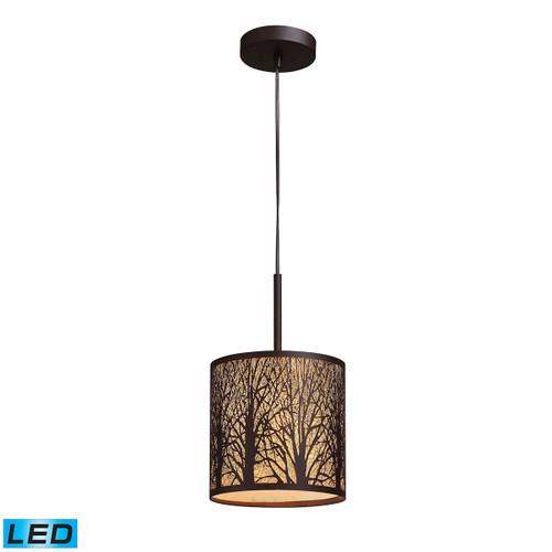 ELK Lighting 31073/1-LED Woodland Sunrise 1-Light Mini Pendant in Aged Bronze with Woodland Shade - Includes LED Bulb