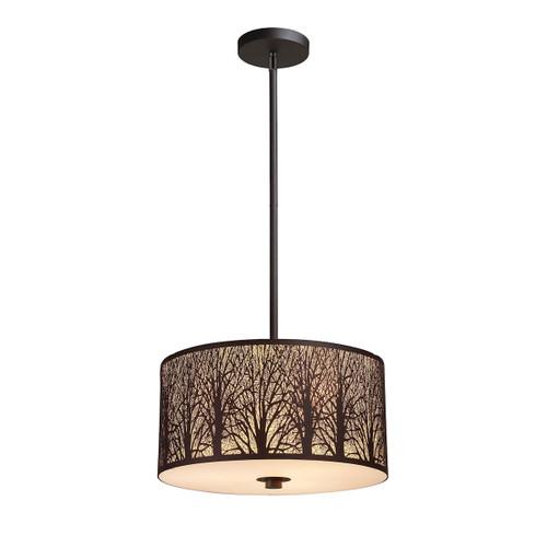 ELK Lighting 31074/3 Woodland Sunrise 3-Light Pendant in Aged Bronze with Woodland Shade