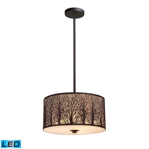 ELK Lighting 31074/3-LED Woodland Sunrise 3-Light Pendant in Aged Bronze with Woodland Shade - Includes LED Bulbs