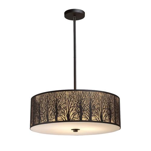 ELK Lighting 31075/5 Woodland Sunrise 5-Light Chandelier in Aged Bronze with Woodland Shade