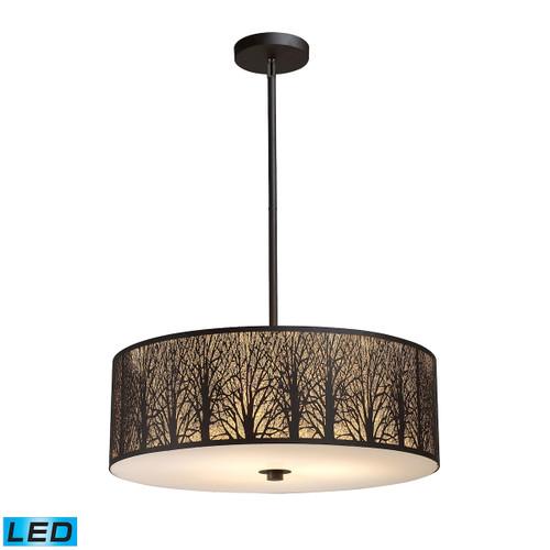 ELK Lighting 31075/5-LED Woodland Sunrise 5-Light Chandelier in Aged Bronze with Woodland Shade - Includes LED Bulbs
