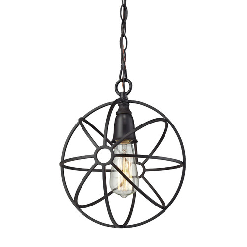 ELK Lighting 14241/1 Yardley 1-Light Mini Pendant in Oil Rubbed Bronze with Wire Cage