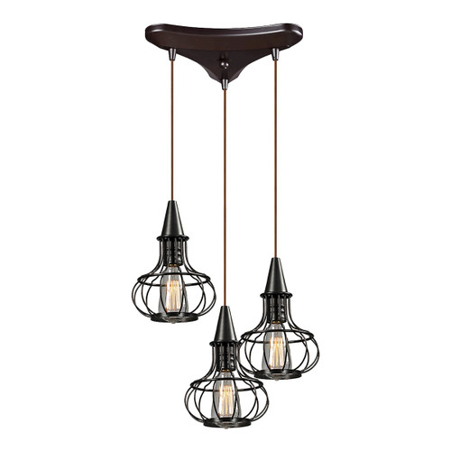 ELK Lighting 14191/3 Yardley 3-Light Triangular Pendant Fixture in Oil Rubbed Bronze with Wire Cages