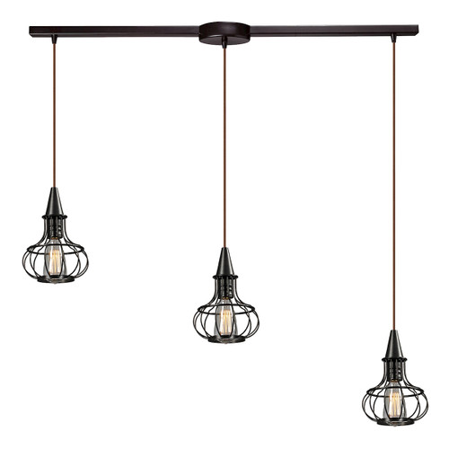 ELK Lighting 14191/3L Yardley 3-Light Linear Pendant Fixture in Oil Rubbed Bronze with Wire Cages