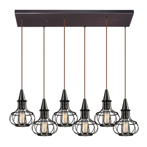 ELK Lighting 14191/6RC Yardley 6-Light Rectangular Pendant Fixture in Oil Rubbed Bronze with Wire Cages