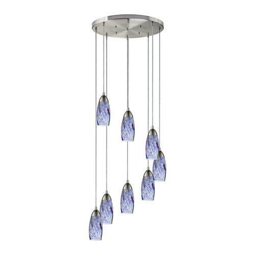 ELK Lighting 110-8R-BL Milan 8-Light Round Pendant Fixture in Satin Nickel with Starburst Blue Glass