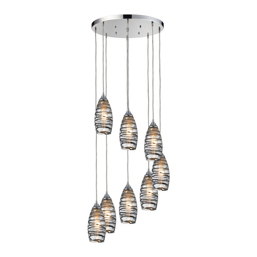 ELK Lighting 31338/8R-VINW Twister 8-Light Round Pendant Fixture in Polished Chrome with Sculpted Glass