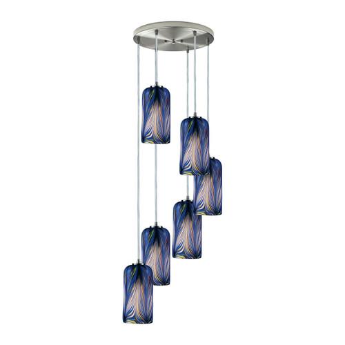 ELK Lighting 544-6R-MO Molten 6-Light Round Pendant Fixture in Satin Nickel with Molten Ocean Glass