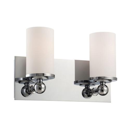ELK Lighting BV2242-10-15 Adam 2-Light Vanity Lamp in Chrome with White Opal Glass