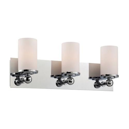 ELK Lighting BV2243-10-15 Adam 3-Light Vanity Lamp in Chrome with White Opal Glass