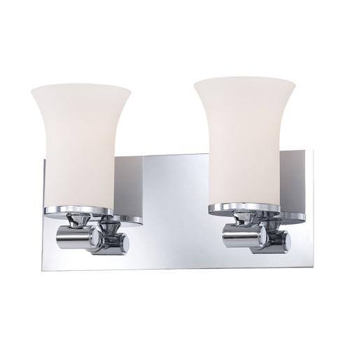 ELK Lighting BV2062-10-15 Flare 2-Light Vanity Lamp in Chrome with White Opal Glass