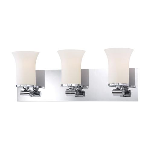 ELK Lighting BV2063-10-15 Flare 3-Light Vanity Lamp in Chrome with White Opal Glass