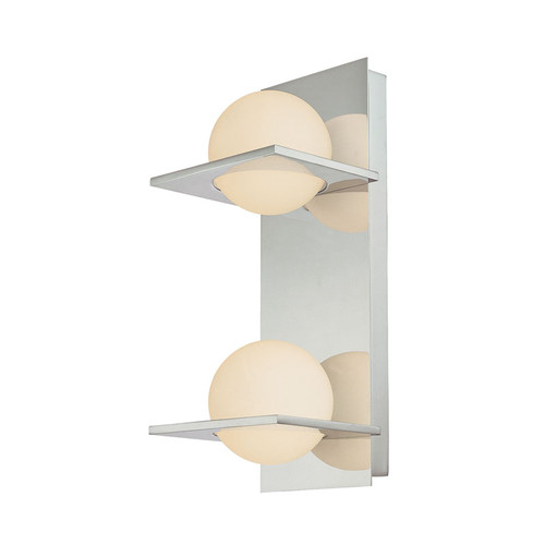 Elk BV9132-10-15 Orbit Double Lamp Vertical Vanity with White Opal Round Glass in Chrome