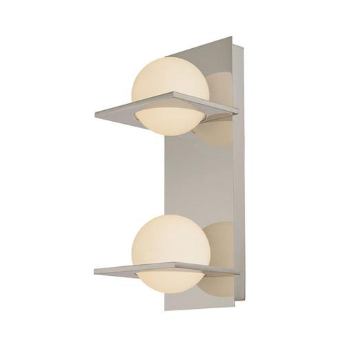 Elk BV9132-10-16M Orbit Double Lamp Vertical Vanity with White Opal Round Glass in Matte Satin Nickel