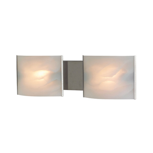 ELK Lighting BV712-6-16 Pannelli 2-Light Vanity Sconce in Stainless Steel with Hand-formed White Alabaster Glass