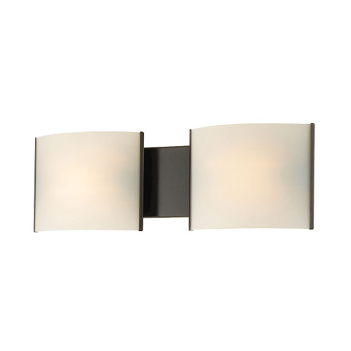 ELK Lighting BV712-10-45 Pannelli 2-Light Vanity Sconce in Oil Rubbed Bronze with Hand-formed White Opal Glass