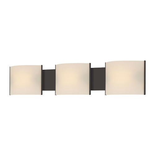 ELK Lighting BV713-10-45 Pannelli 3-Light Vanity Sconce in Oil Rubbed Bronze with Hand-formed White Opal Glass