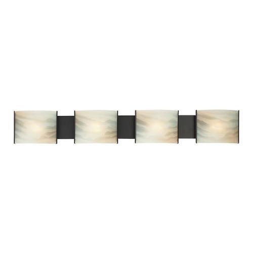 ELK Lighting BV714-HM-45 Pannelli 4-Light Vanity Sconce in Oil Rubbed Bronze with Hand-formed Honey Alabaster Glass