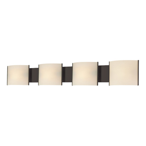 ELK Lighting BV714-10-45 Pannelli 4-Light Vanity Sconce in Oil Rubbed Bronze with Hand-formed White Opal Glass