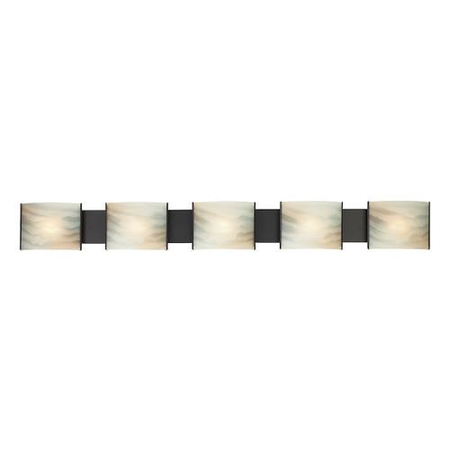 ELK Lighting BV715-HM-45 Pannelli 5-Light Vanity Sconce in Oil Rubbed Bronze with Hand-formed Honey Alabaster Glass