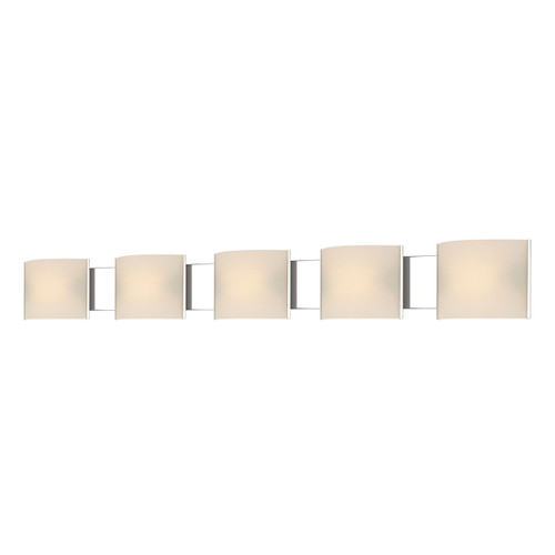 ELK Lighting BV715-10-15 Pannelli 5-Light Vanity Sconce in Chrome with Hand-formed White Opal Glass