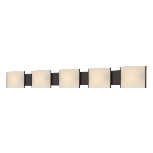 ELK Lighting BV715-10-45 Pannelli 5-Light Vanity Sconce in Oil Rubbed Bronze with Hand-formed White Opal Glass