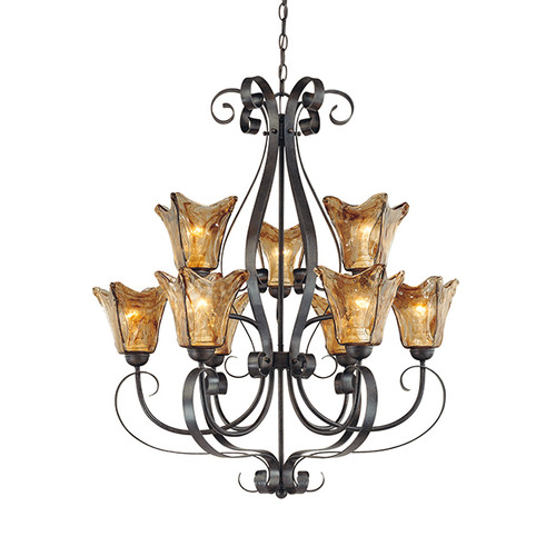Millennium Lighting 7129-BG Chatsworth Umber Swirl Chandelier in Burnished Gold
