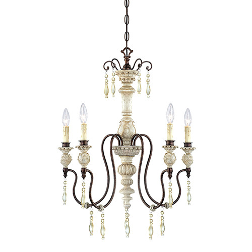 Millennium Lighting 7305-AW/BZ Denise Antique White 5 Light Chandelier with Crystal Accents
