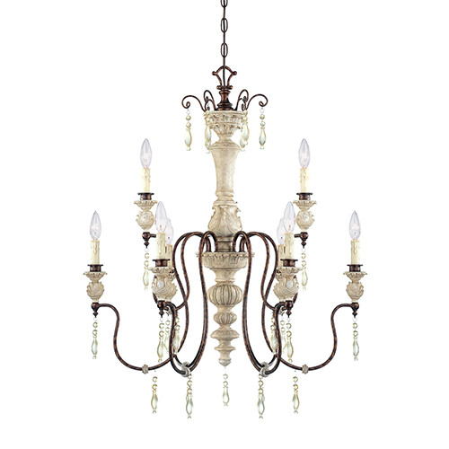 Millennium Lighting 7309-AW/BZ Denise Chandelier in Antique White/Bronze
