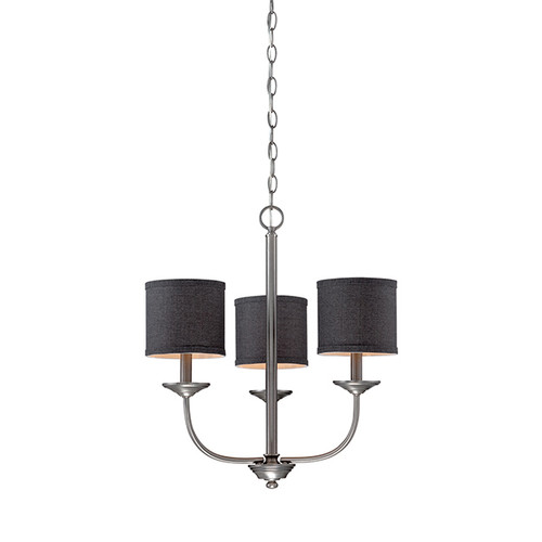Millennium Lighting 3113-BPW Jackson Chandelier in Brushed Pewter with Charcoal Shade