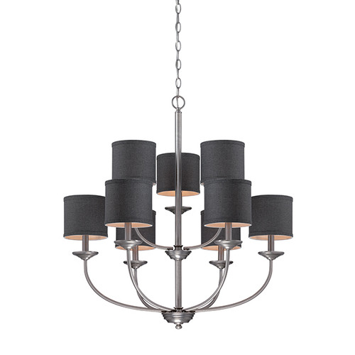 Millennium Lighting 3119-BPW Jackson Chandelier in Brushed Pewter with Charcoal Shade