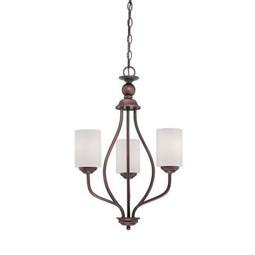 Millennium Lighting 3053-RBZ Lansing Etched White Chandelier in Rubbed Bronze