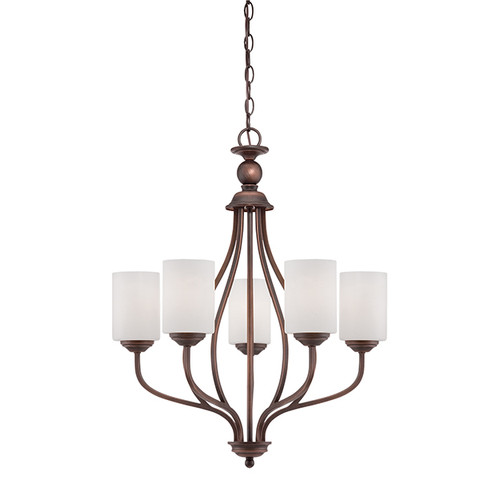 Millennium Lighting 3055-RBZ Lansing Etched White Chandelier in Rubbed Bronze