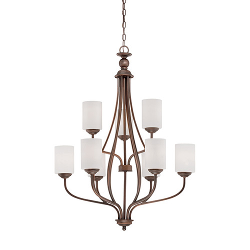 Millennium Lighting 3059-RBZ Lansing Etched White Chandelier in Rubbed Bronze