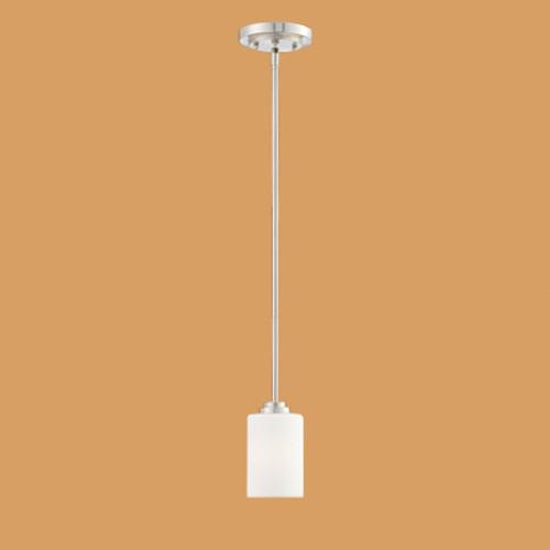 Millennium Lighting 7251-SN Bristo Etched Single Light White Mini Pendant with Satin Nickel Finish