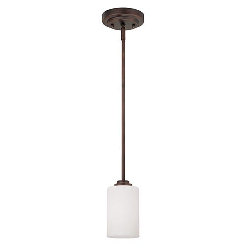 Millennium Lighting 7251-RBZ Bristo Etched Single Light White Mini Pendant with Rubbed Bronze Finish