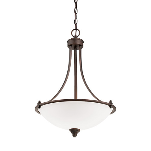 Millennium Lighting 7273-RBZ Bristo Etched White Hanging Pendant with Rubbed Bronze Finish