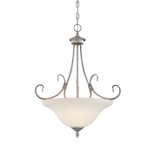 Millennium Lighting 1383-RS Fulton Etched White Pendant in Rubbed Silver