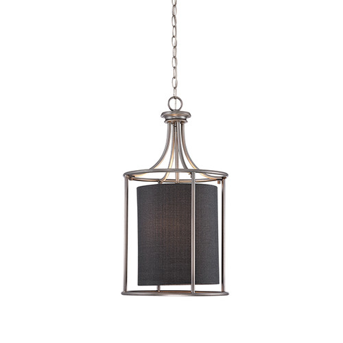 Millennium Lighting 3142-BPW Jackson Pendant in Brushed Pewter with Charcoal Shade