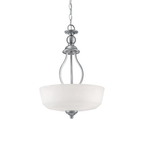 Millennium Lighting 3083-BPW Lansing Etched White Pendant in Brushed Pewter