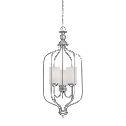 Millennium Lighting 3063-BPW Lansing Etched White Pendant in Brushed Pewter