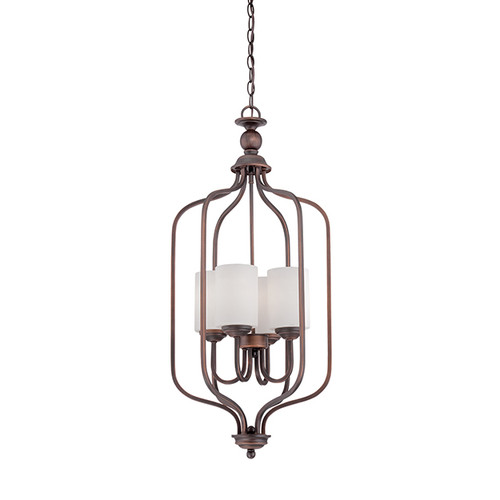 Millennium Lighting 3064-RBZ Lansing Etched White Pendant in Rubbed Bronze