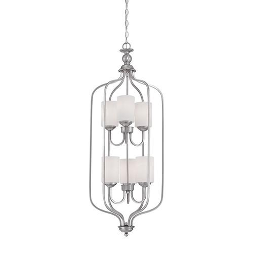 Millennium Lighting 3066-BPW Lansing Etched White Pendant in Brushed Pewter