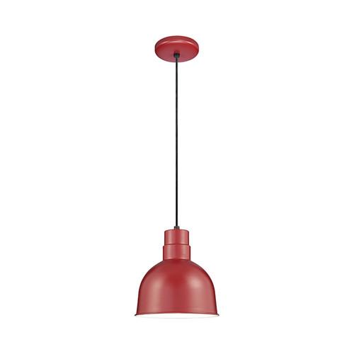 "Millennium Lighting RDBC10-SR R Series 10"" Industrial Nautical Pendant with Satin Red Finish"