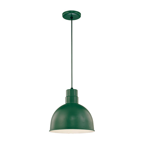 """Millennium Lighting RDBC12-SG R Series 12"""" Industrial Nautical Pendant with Satin Green Finish(Wire Guard RWG12 is Optional)"""