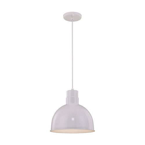 """Millennium Lighting RDBC12-WH R Series 12"""" Industrial Nautical Pendant with White Finish(Wire Guard RWG12 is Optional)"""